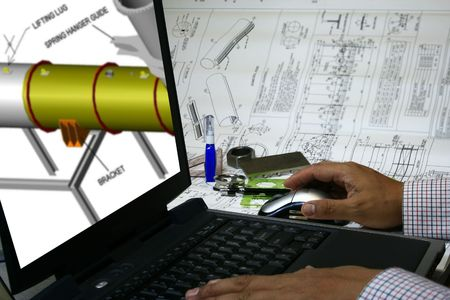 engineer draw his design into the computer using CAD design