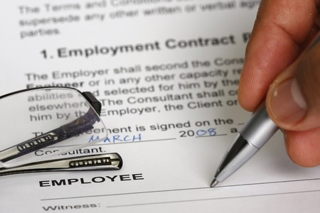 Employment contract signing