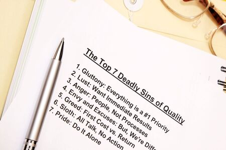 The top 7 deadly sins of quality concept