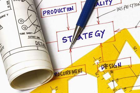 Photo pour Strategy flowchart with engineering blueprint - concept for idea to fabrication. - image libre de droit