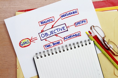 goal and objective abstract - concept for management tools and flowchart