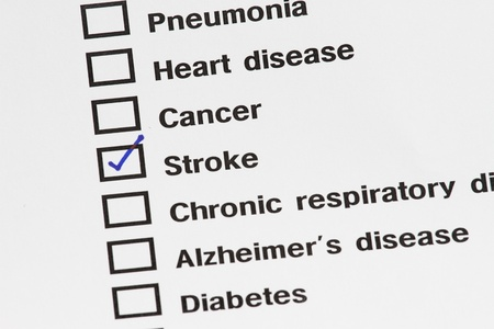 medical result showing stroke with check on medical result document.