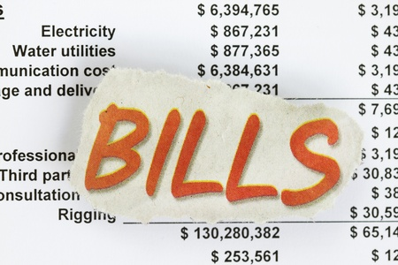 Pay bills with numbers and invoice with figures.