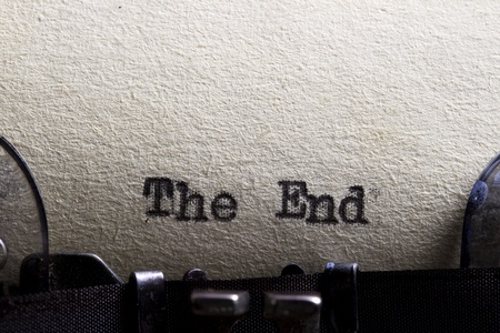 The end    written on an old typewriter and old paper