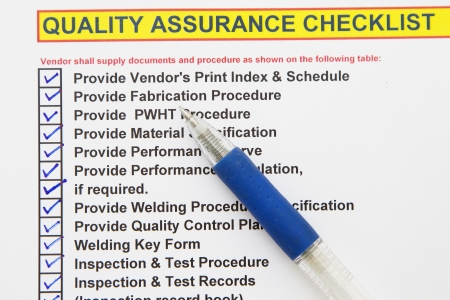 Quality assurance checklist- many uses in the oil and gas industry
