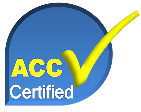 certificate logo or symbol of ACC system on blue color