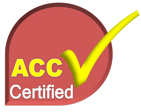 certificate logo or symbol of ACC system on dark red color
