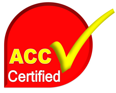 certificate logo or symbol of ACC system on red color