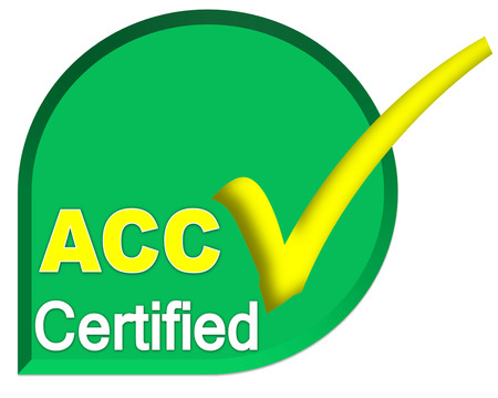 certificate logo or symbol of ACC system on green color