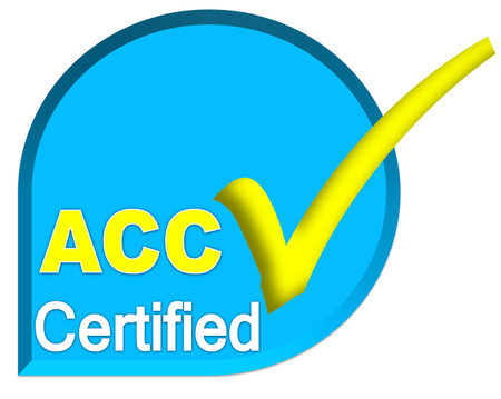 certificate logo or symbol of ACC system on blue sky color