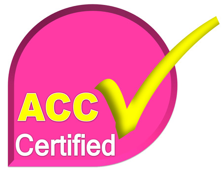 certificate logo or symbol of ACC system on pink color