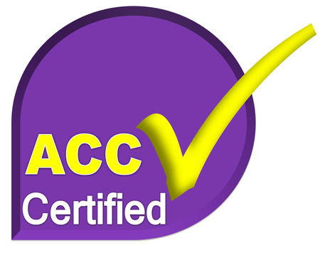 certificate logo or symbol of ACC system on purple or violet color