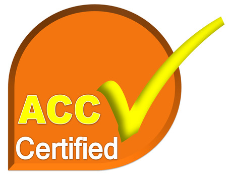 certificate logo or symbol of ACC system on orange color