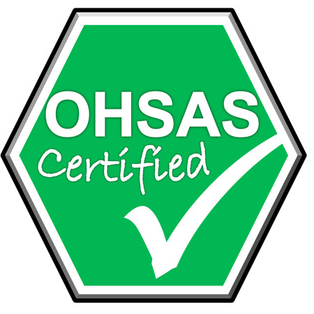 The images symbol have been OHSAS  certified on green background