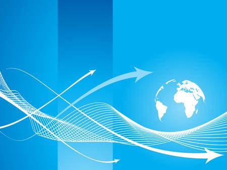 Illustration pour abstract arrow icon background with blue wave line. - image libre de droit