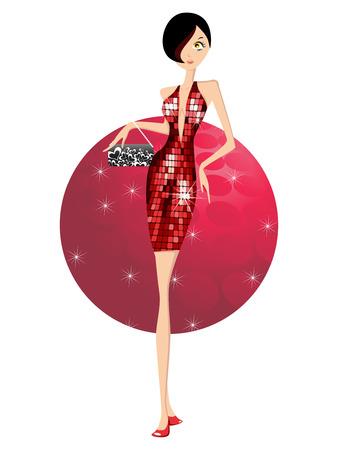 Dancing girl with handbag in disco background