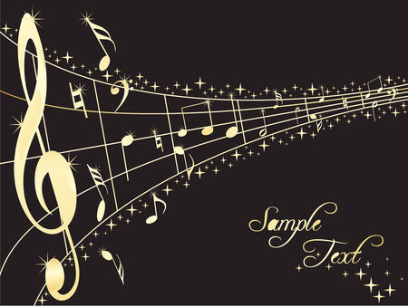 Abstract musical lines with music notes. Vector illustration