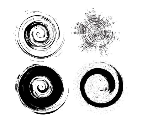 four different type vector circle Grunge brushes