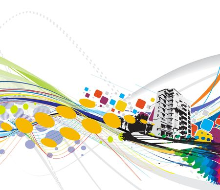 abstract grunge urban city on a rainbow wave line background, illustration