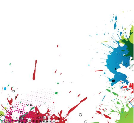 Colourful bright ink splat design with a white background.  illustration.