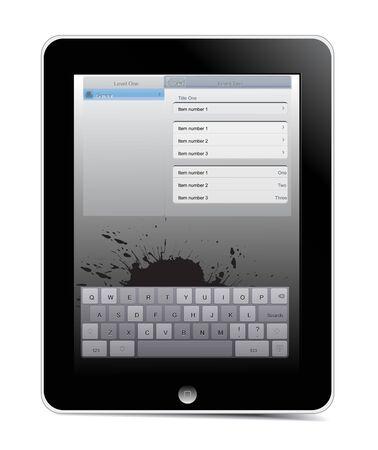 Generic touch screen i pad, sleek black grunge design with chrome trim.  illustration