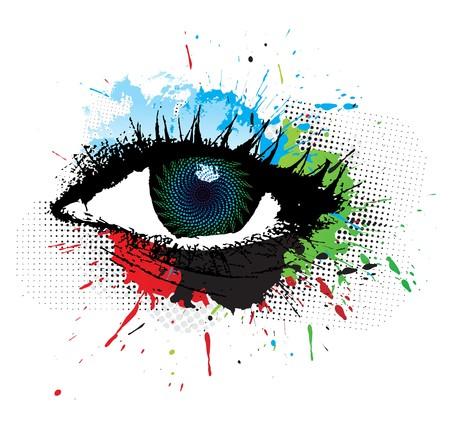 abstract grunge design of beautiful human eye, illustration
