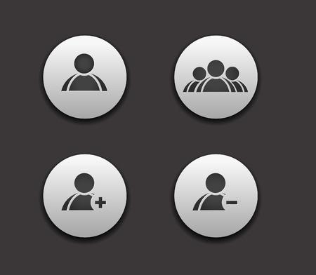 vector add delete  & user group web icon set design element.