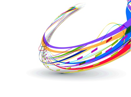 Abstract background with colorful bent lines. Vector illustration