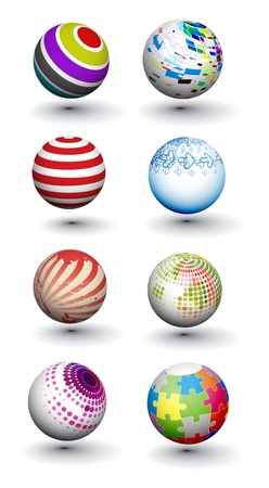 Set of vector 3d colorful spheres design.
