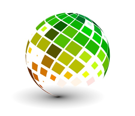 abstract 3d vector sphere with glossy mosaic design.
