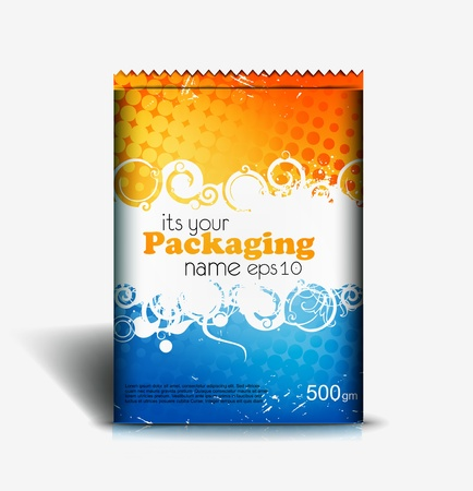 Presentation of pouch pack design content background. editable vector illustration
