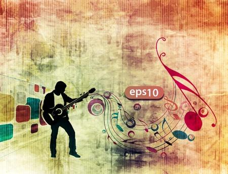 man playing guitar in grunge texture background.
