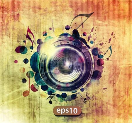 Illustration for abstract colorful speaker design background illustration.  - Royalty Free Image