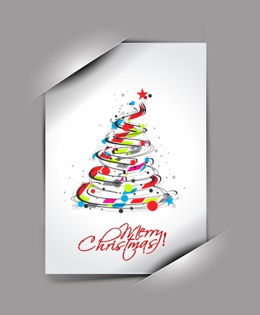 greetings card for holiday with corner curl design, vector illustration