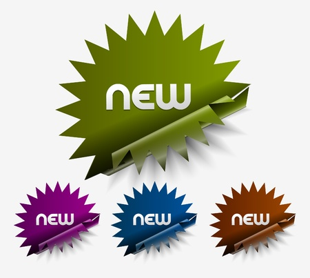 Vector new stickers set. Transparent shadow easy replace background and edit colors.