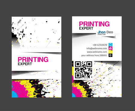 Cmyk printing business card set.