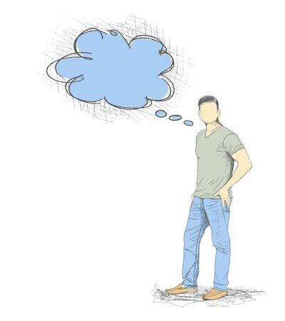 Illustration pour Skech of Young Man with a empty speech bubble on White Backgroud - image libre de droit