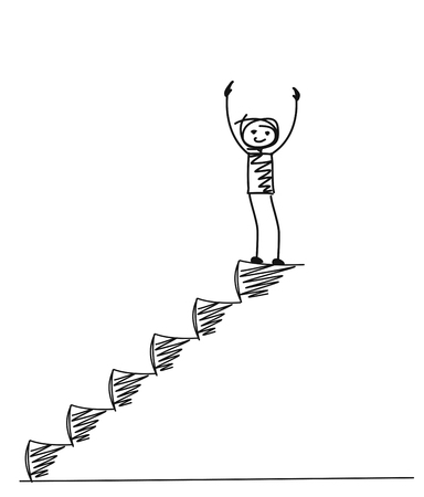 Illustration pour Man on top of the stairs, Cartoon Hand Drawn Vector Background. - image libre de droit