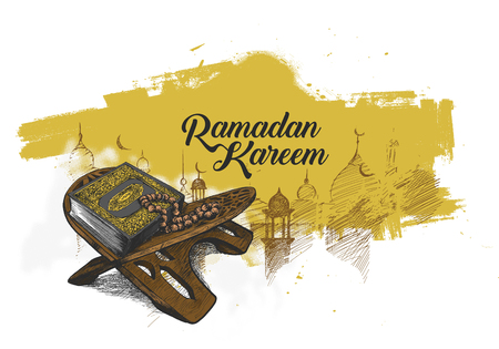 Illustration pour The holy book of the Koran on the stand with calligraphy stylish lettering Ramadan Kareem text on colored illustration. - image libre de droit