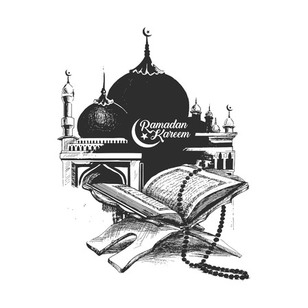 Illustration for The holy book of the Koran on the stand with calligraphy stylish lettering Ramadan Kareem text  , Hand Drawn Sketch Vector illustration. - Royalty Free Image