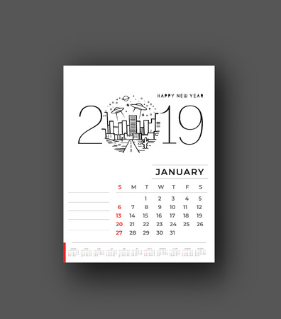 Illustration for Happy new year 2019 Calendar - New Year Holiday design elements for holiday cards, calendar banner poster for decorations, Vector Illustration Background. - Royalty Free Image