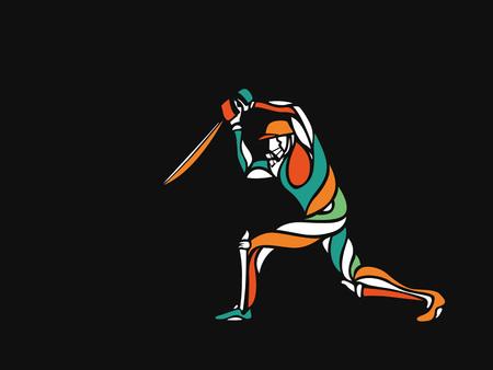 Illustration pour Concept of Batsman playing cricket - championship, Hand Drawn Sketch Vector illustration. - image libre de droit