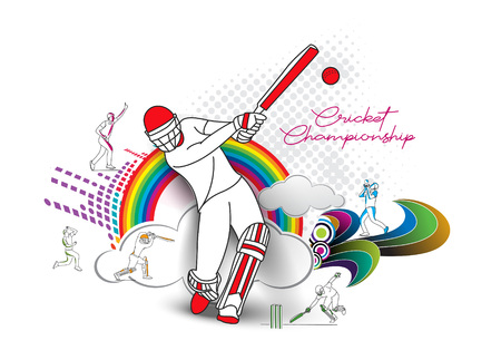 Illustration pour Abstract colorful pattern with batsman and bowler playing cricket championship background. Use for cover, poster, template, brochure, decorated, flyer, banner. - image libre de droit