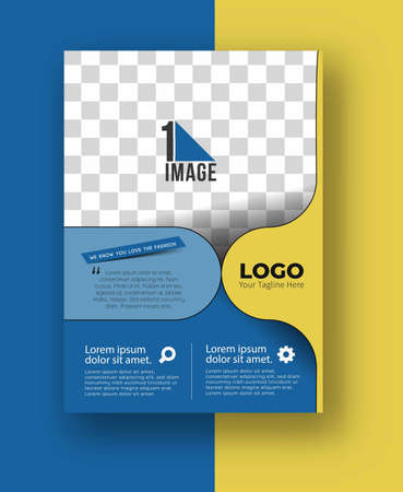 Illustration for Business flyer with space of image & logo- Brochure magazine cover page & poster template, vector illustration. - Royalty Free Image