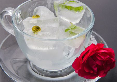 ice cubes with chamomile and mint in a glass cup