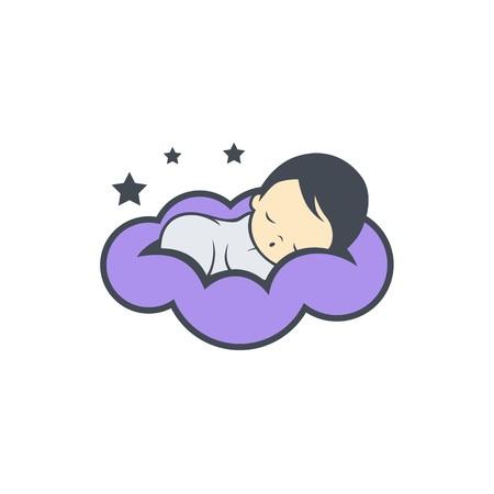 Illustration pour Sleep baby logo design - image libre de droit