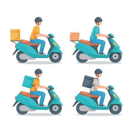 Illustration pour Delivery man with scooter vector set illustration - image libre de droit