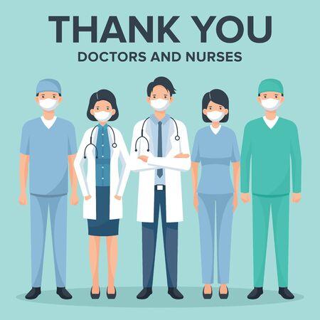 Illustration pour Thank you doctors and nurses vector illustration - image libre de droit