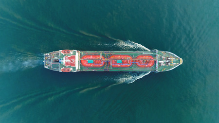 Photo for Ship tanker gas LPG top speed on the sea for transportation. - Royalty Free Image