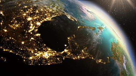 Photo pour Planet Earth Central America zone. Elements of this image furnished by NASA - image libre de droit